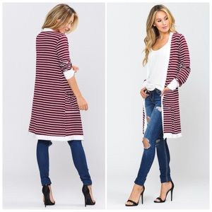 Open Front Long Cardigan with Pockets NWT